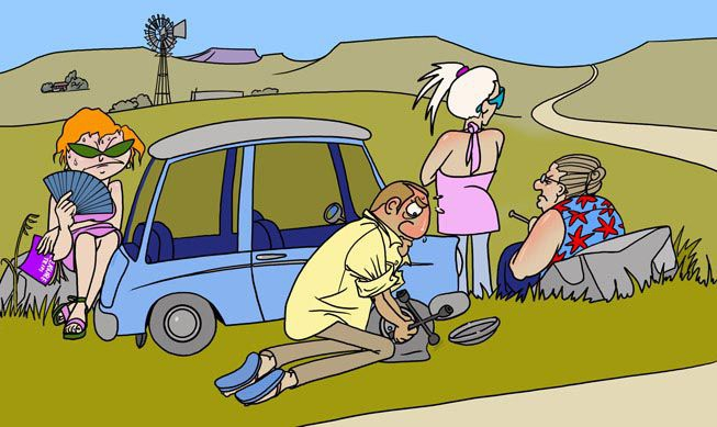 Stranded family in the Karoo desert