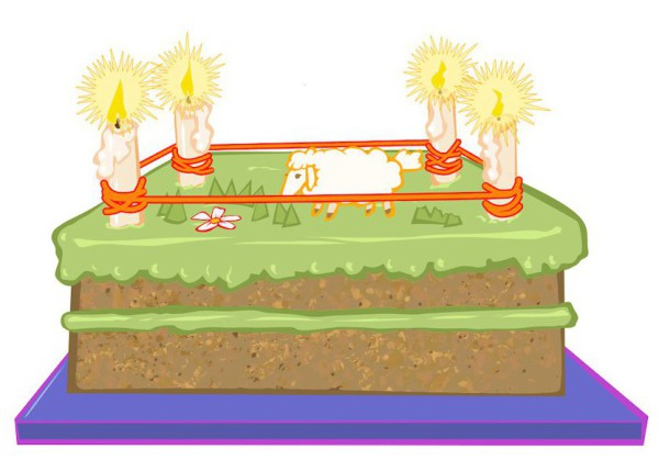 Illustration: birthday chart, '4 years old today', classroom materials; Early Childhood Development.