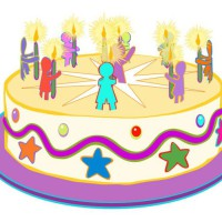 Illustration: birthday chart, '9 years old today', classroom materials Early Childhood Development.