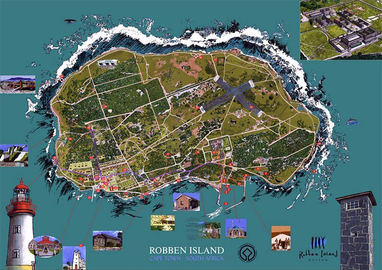Map of Robben Island, for Robben Island Museum. - Savyra | Illustrator ...: www.savyra.com/design-2-2/posters-3/robben_island_map-2