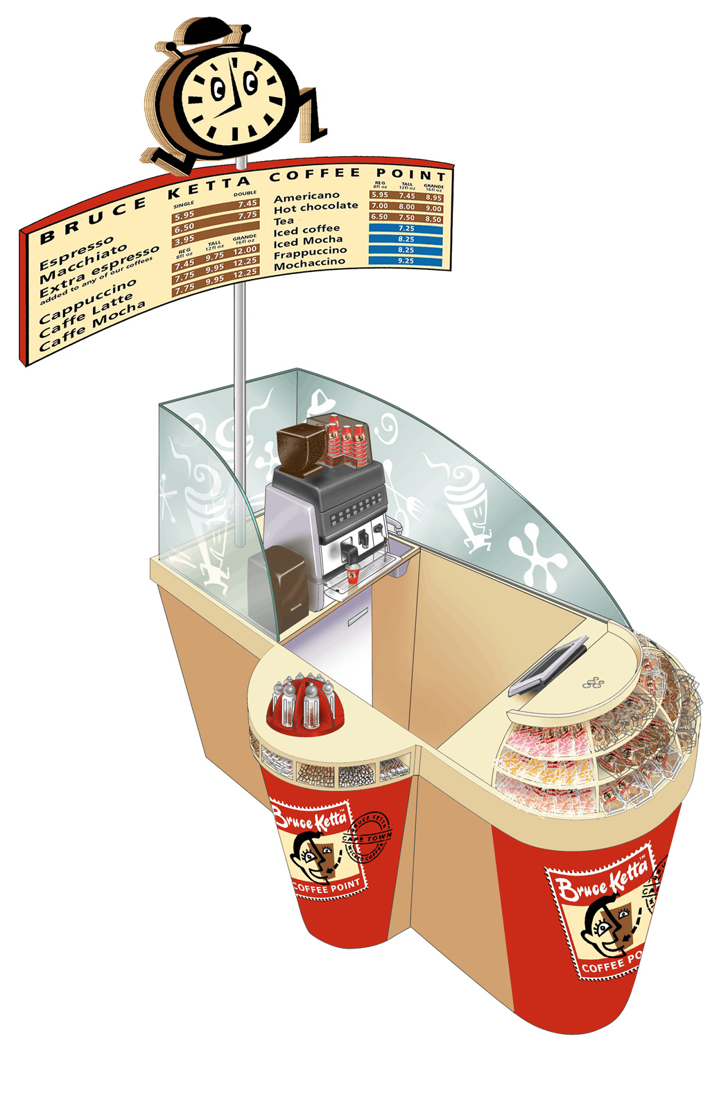 An illustration of the perspective view, with the signage, equipment, sugar and spices dispensers added.