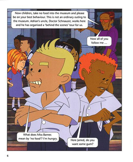 Frame from comicbook (Rainbow Readers, Cambridge Univ Press, Cape Town)