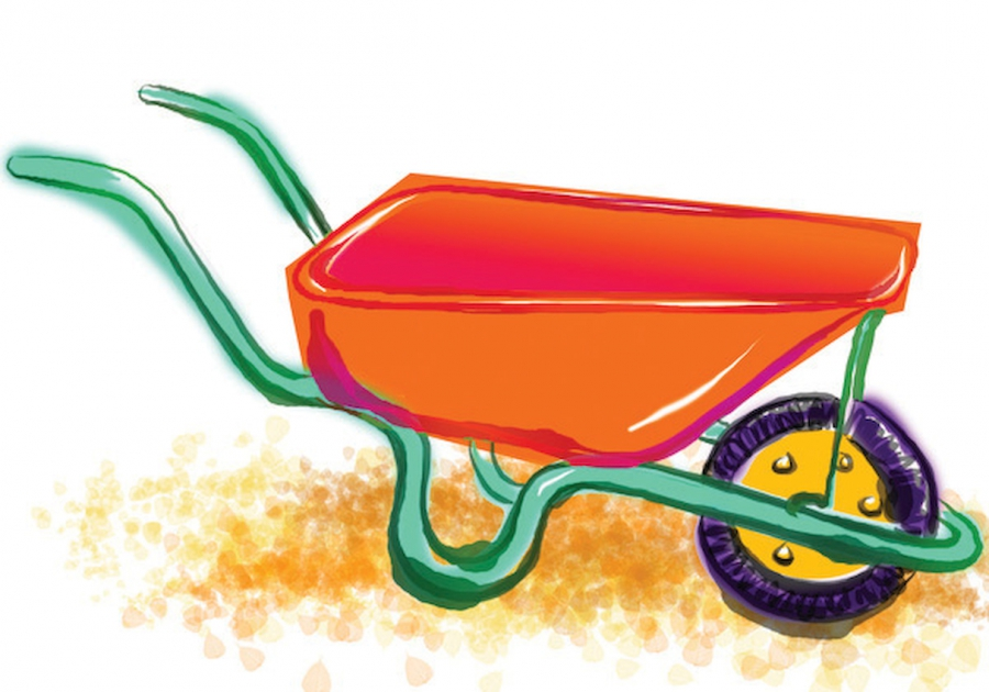 Artistic drawing wheelbarrow