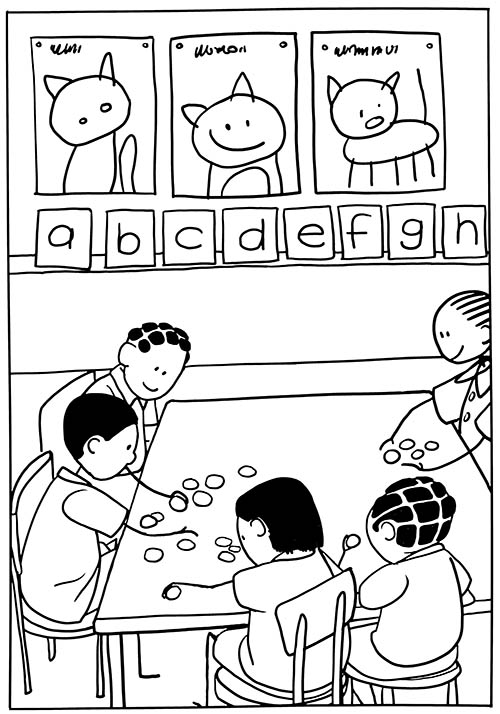 Stick figures: kids playing and learning