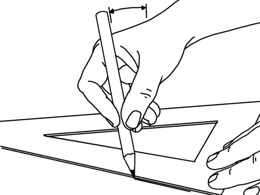Different view of inclination of pencil