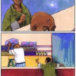 Boy and shopkeeper educational illustration