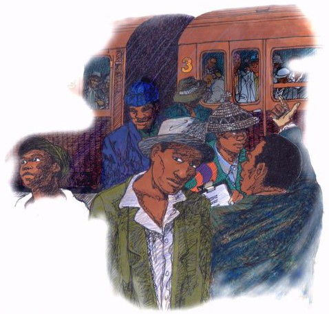 Illustration of poem re ZA miners travelling in the Fifties, English comprehension