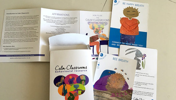 Calm Classrooms - box leaflet and cards