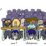 Grobby style, English, educational illustration: debate