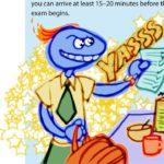 Grobby style, English, educational illustration: exam prep