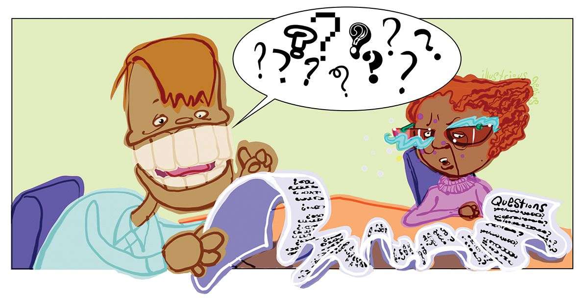 Grobby style, English, educational illustration: Interviewing a celebrity