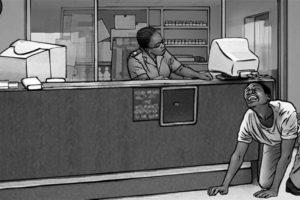 Fotomelt style, educational illustration - non-availability-of-ARV-meds