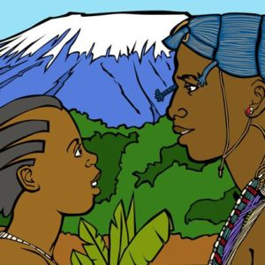 Legend style, English, educational illustration: African legend