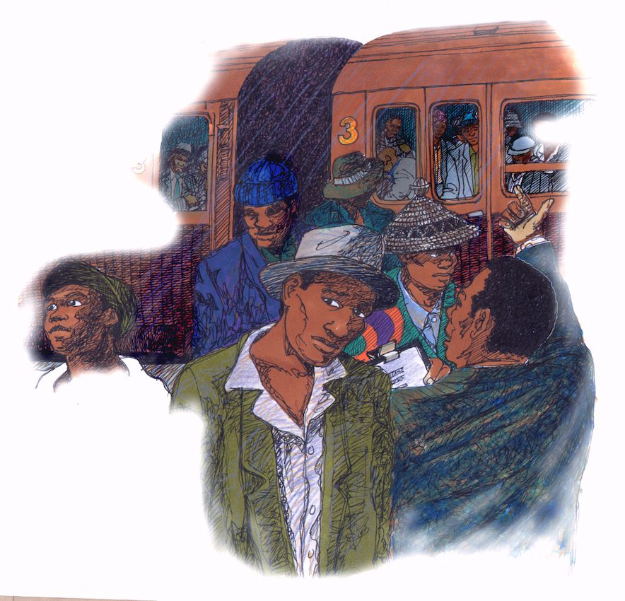 Scribbly style, English textbook, Educational illustration, Migrant workers and Coal Train