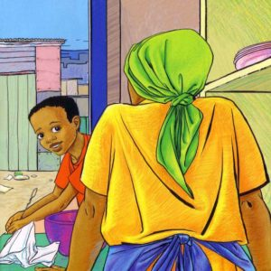 Pencil crayon style, Themba's Day, Children's book illustration