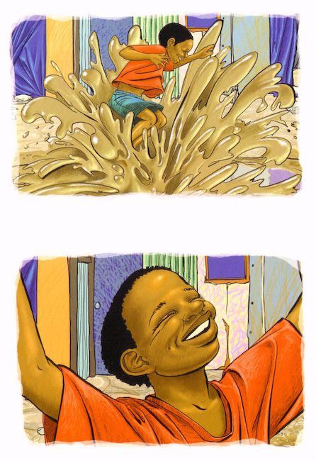 Pencil crayon style Pencil crayon style, Themba's Day, Children's book illustration