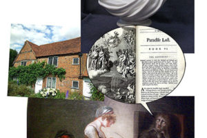 Collage style, Poem about Milton, English textbook, educational illustration