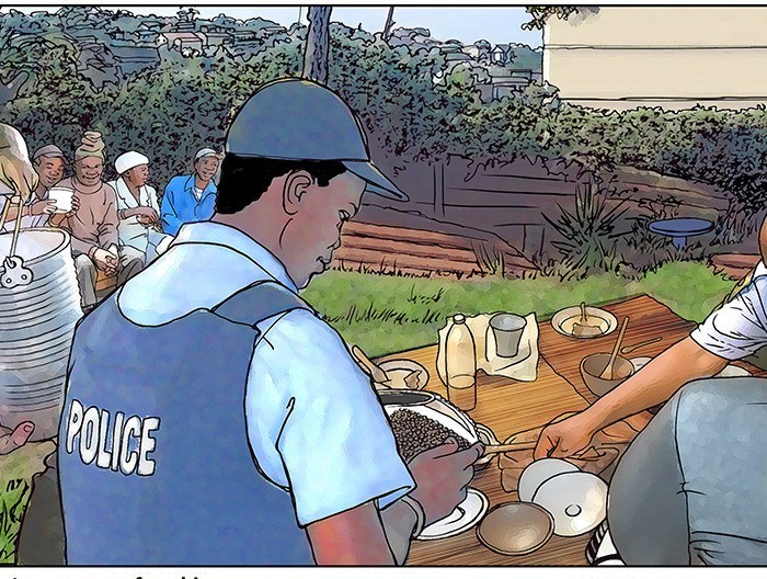 Educational illustration,,Policemen join party