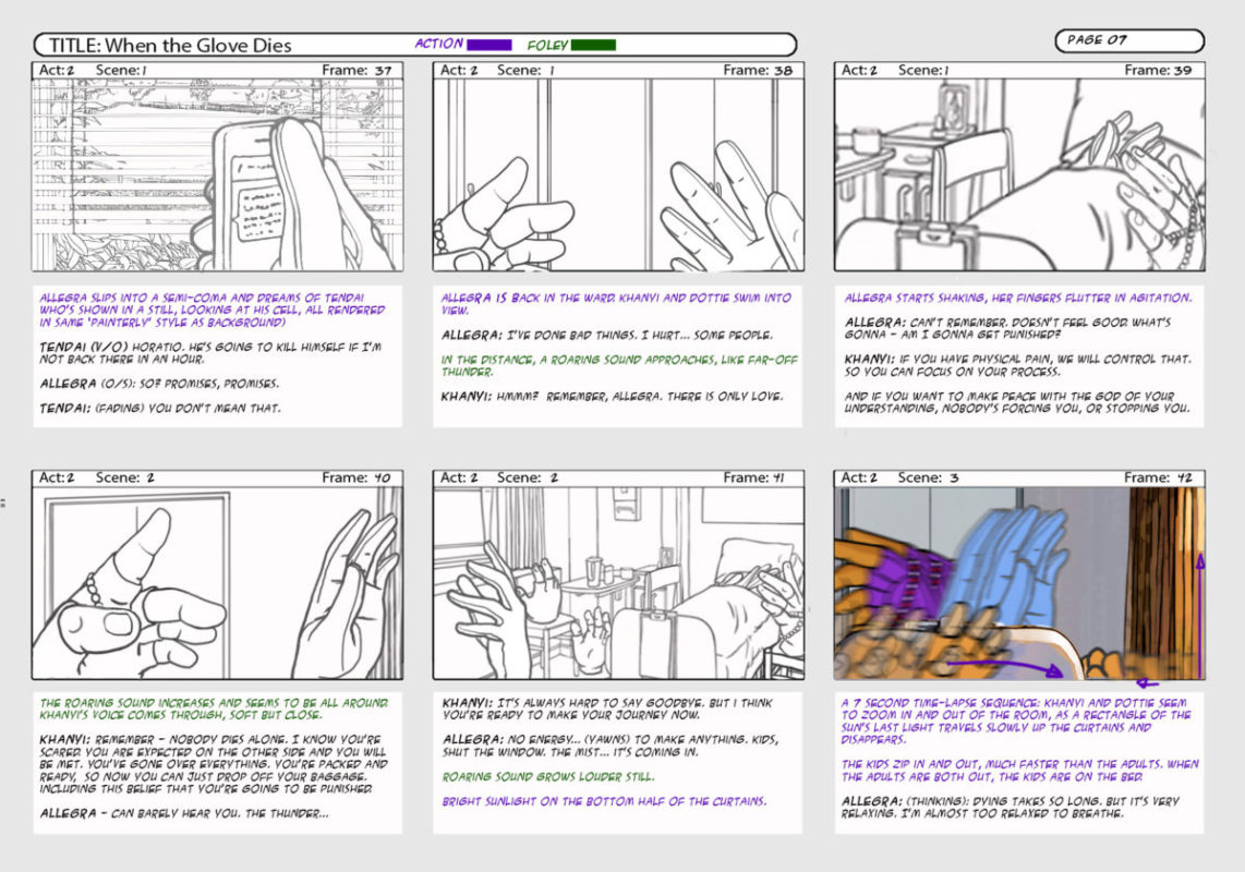 6 frames of storyboard- When the Glove Dies
